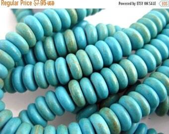 10% off Memorial Day Disk Beads-- Turquoise Howlite Disk Beads -- FULL STRAND (BB-194)