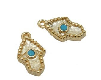 10% off July 4th SALE Tiny Hamsa Hand Pendant with Turquoise Gemstone Accent - Gold Over Sterling Silver Hamsa Hand - (LA-187)