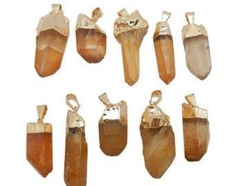 15% off Christmas in July Tangerine Crystal Quartz Point with Electroplated 24k Gold Cap and Bail (S97B11-02)
