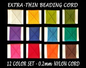 0.2mm Nylon Bead Thread - 12 Colors Extra Thin Nylon Cord - Strong Matte Cording