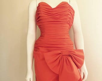 Christian Dior / Orange Dress / 80s / Dior Dress / High Fashion / Designer Clothing / Ruched Dress