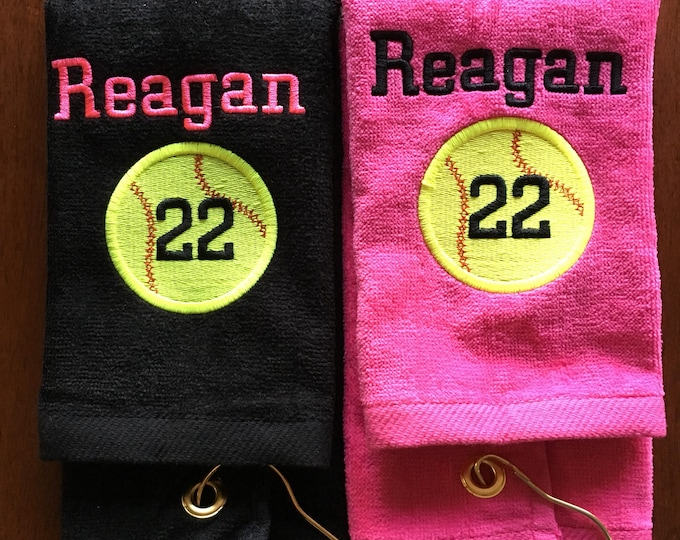 Personalized baseball towel, softball towel, team gift, school sports, pin towel, with or without hook