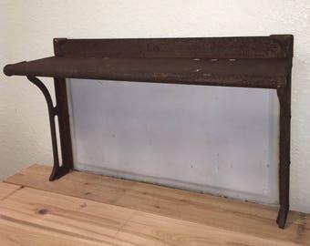 Antique stove back with shelf • antique porcelain and metal stove backsplash