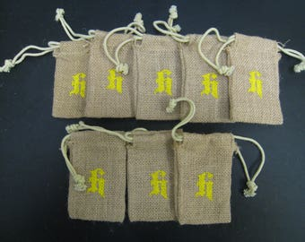 "8 pcs Burlap Bags with letter H stamped on it 3""x5"""