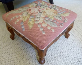 Vintage Foot Stool, Needlepoint Ottoman, French Upholstered Wood Footstool, Step Stool, French Country Shabby Chic Pink Foot Stool