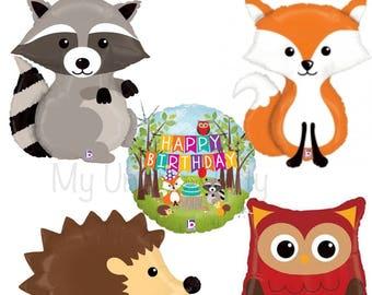 Woodland Balloons Fox Raccoon Hedgehog Owl Woodland Party Happy Birthday Mylar Balloons Helium Quality