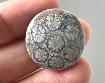 Beautiful Floral Fossil  Cabochon 24 x 23 mm