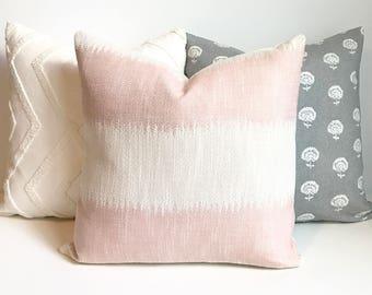 Blush pink ikat striped boho Decorative Pillow Cover