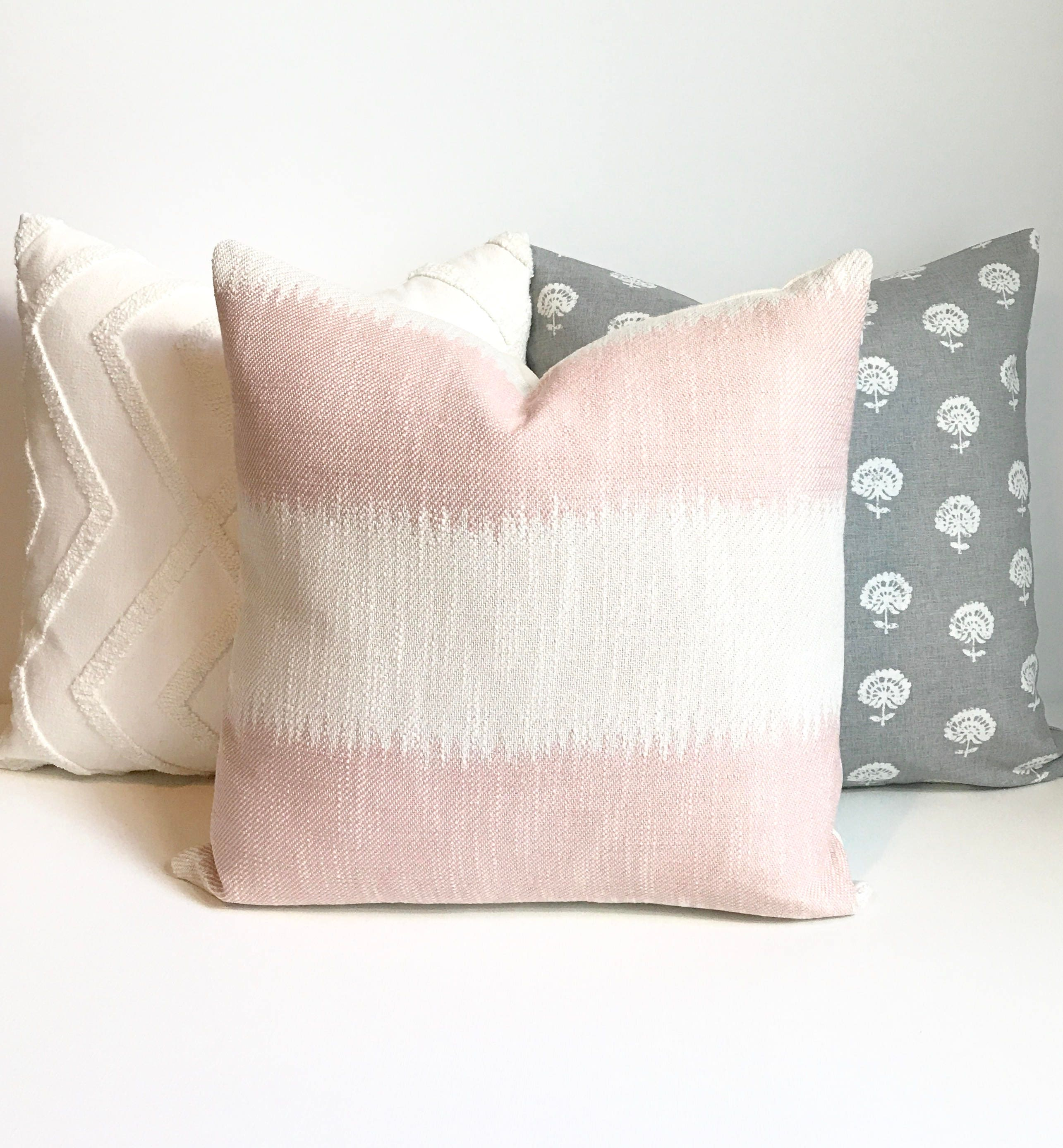 Blush Pink Decorative Pillow : Blush pink ikat striped boho Decorative Pillow Cover