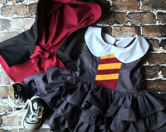 Hermione Granger Inspired Dress and Mini Cloak- Toddler-Infant- Girls- Size 12 months- 18 Months- 2T- 3T- 4T- 5T- Custom Sizes