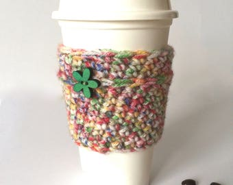 Multicolor coffee sleeve cozy, confetti cozy sleeve, coffee sleeve with green wood flower button, sprinkles cup cozy, cup sleeve