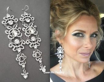 "Crystal chandelier earrings ~ Long, Crystal statement earrings ~ 5""~ Sterling ear wires ~Wedding jewelry~Brides statement earrings -ANGELINA"