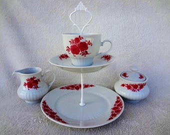 Vintage Bavaria China Stand and Sugar and Creamer