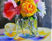 Original Painting of GARDEN FLOWERS,  floral still life, flowers in mason jar, pink and blue, gift for mom