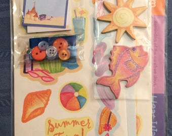Sun and Sand Embellishment Value Pack including stickers, buttons, ribbons, chipboard embellishments, and tags
