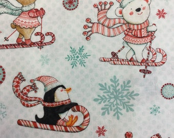 Studio e  3018 Peppermint Penguin in White 100% Cotton Fabric by the Half Metre