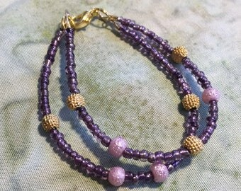 Tiny Purple and Gold Necklace - altar icon, saints, sringar, adornment