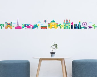 Melbourne Cartoon Skyline Wall Sticker