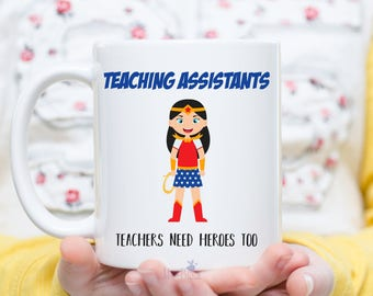Personalized Teacher gift mug - custom TA gift, teaching assistant gift - Teacher appreciation gift, custom teaching assistant, wonder woman