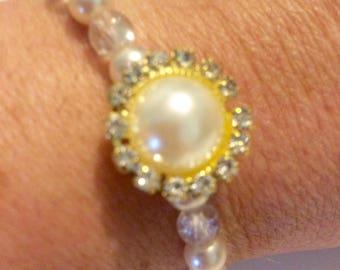 Pink Pearl & Rhinestone Stretch Bracelet