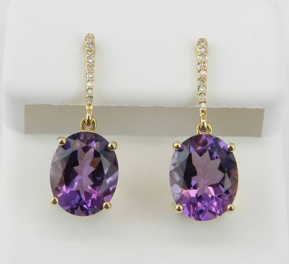 Diamond and Amethyst Dangle Drop Earrings 14K Yellow Gold Purple February Gem