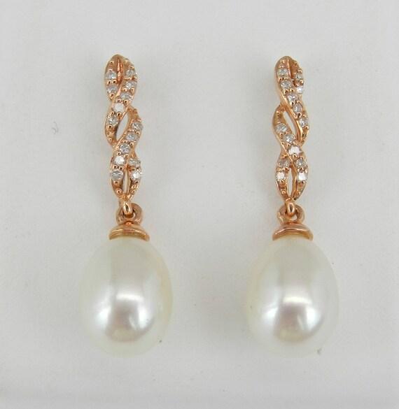 Pearl and Diamond Dangle Drop Earrings 14K Rose Gold June Birthday Wedding