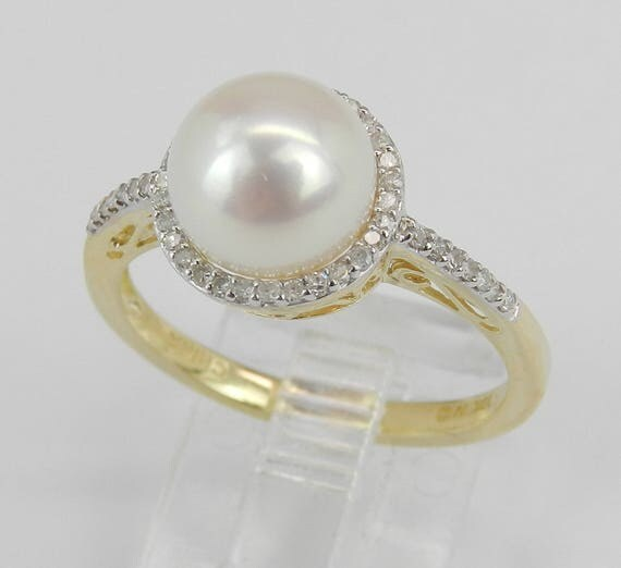 Pearl and Diamond Halo Engagement Ring Yellow Gold June Birthstone Gem Size 7