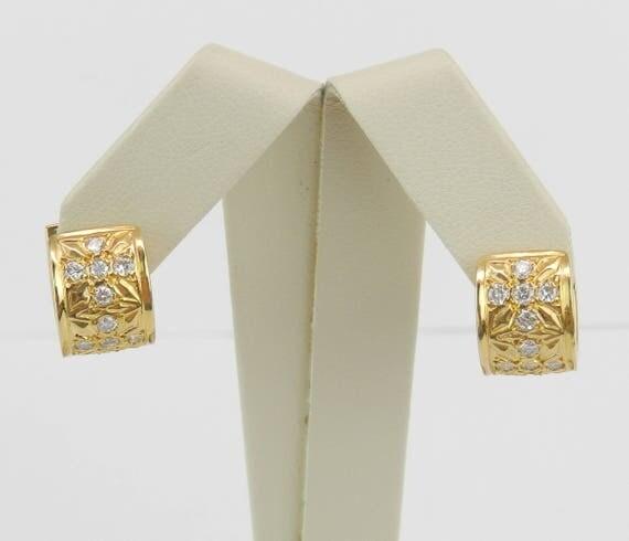 14K Yellow Gold Diamond Huggie Huggies Hoop Earrings Wide Hoops Flower Design