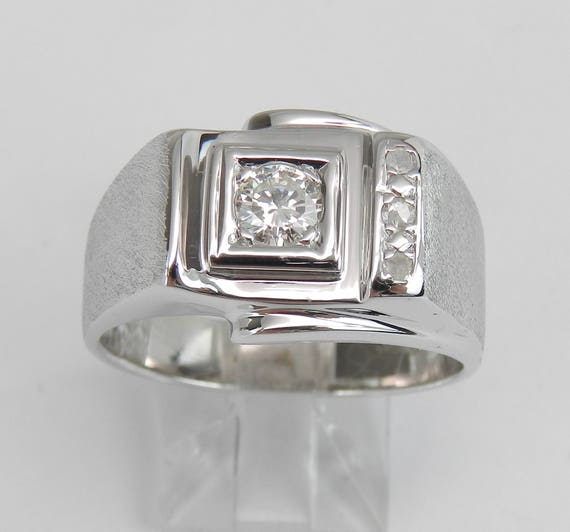 Men's Solitaire Diamond Engagement Ring Pinky Ring Anniversary Band 14K White Gold Size 10.5