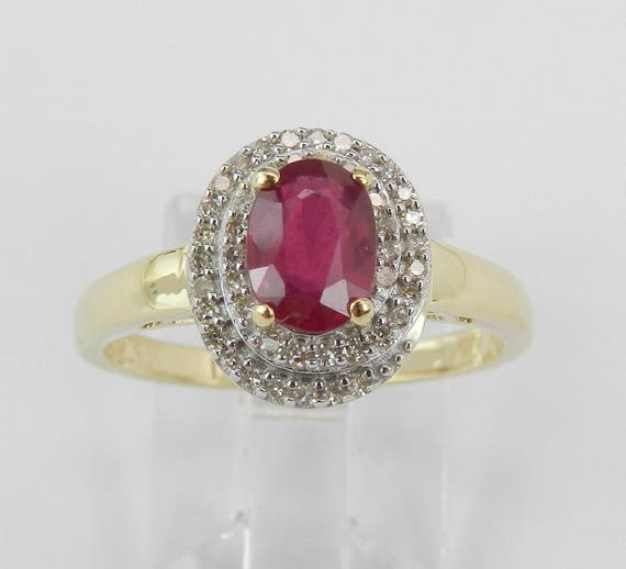 Ruby and Diamond Double Halo Engagement Ring Promise 14K Yellow Gold Size 7