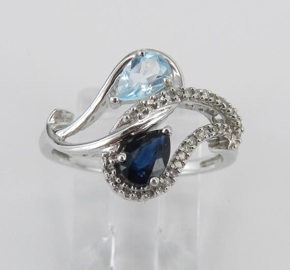 White Gold Diamond Aquamarine Sapphire Cocktail Bypass Ring Size 7 March September Birthstone