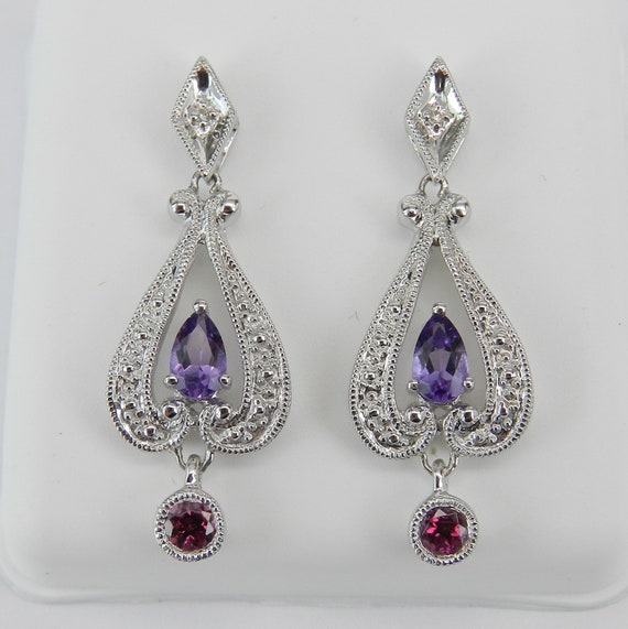Diamond Amethyst Rhodolite Garnet Dangle Drop Earrings 14K White Gold Unique Gift