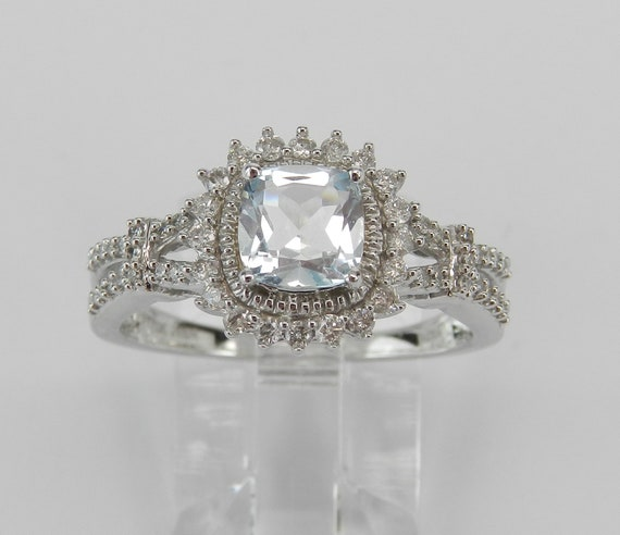 White Gold Aquamarine and Diamond Halo Engagement Ring Size 8 Cushion Cut