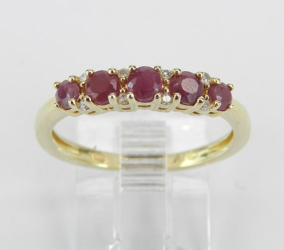 Ruby and Diamond Wedding Ring Anniversary Band Yellow Gold Size 7 Stackable July Birthstone