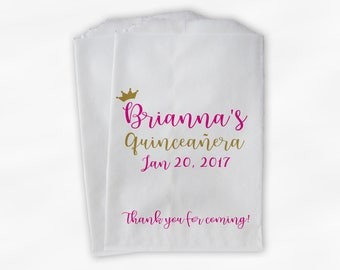 Quinceanera Birthday Personalized Candy Buffet Bags with Crown - Hot Pink and Gold Thank You Custom Favor Bags - 25 Paper Treat Bags (0207)