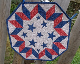 Patriotic table quilt, Stars little quilt 0530-04