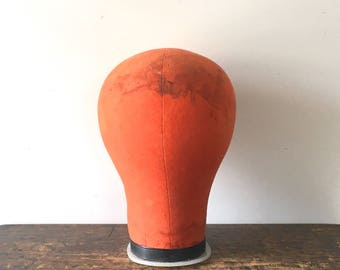 Vintage Orange Canvas Millinery Head, Wig Head, Mannequin Head, Wig Block