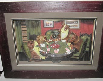 3D Dogs Playing Poker Shadow Box