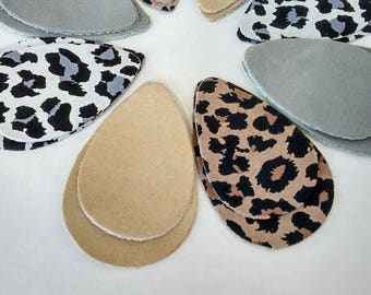 16pcs Leather Teardrops, Gray Leather, Tan Leather, Leopard Print Genuine Leather