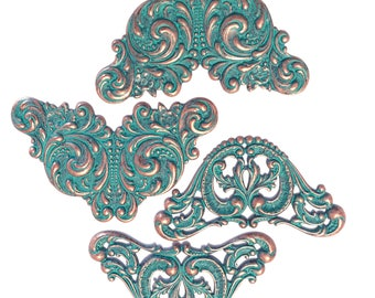 Brass Stamping, 4 Piece, Winged Design, Jewelry Making, Leaf Motif, Aqua Copper, Antique Copper, Bsue, US Made, 3.25 - 3.50 Inches,Item03446