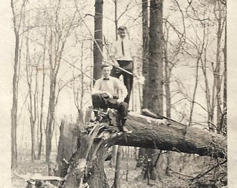 "Vintage Photo ""Little Brother Has An Axe"" Boys In Trees Found Vernacular Photo"