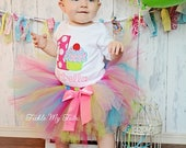 Cupcake Birthday Outfit in Custom Colors and Ruffle Sleeve Bodysuit