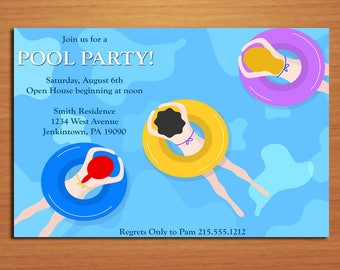 Swimmer / Pool Party Invitation Cards PRINTABLE DIY