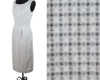 1950s Dress // Houndstooth Grey and White Sleeveless Wiggle Dress