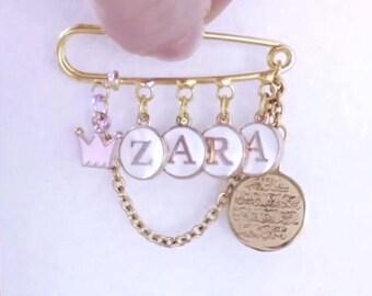 Baby Name Personalized Safety Pin, Allah Ayatul Kursi Baby Pin, Name Pin, Muslim Baby Pin, Stroller Pin, Islamic Baby Gift, Muslim Jewelry