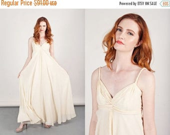 FLASH SALE 50s Grecian Dress Vintage Crepe Dress Cream Long Spaghetti Strap Dress