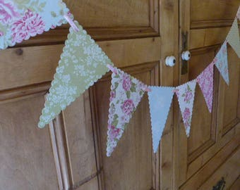 Paper Bunting Banner - Tea Party - Pastel Green, Pink, Grey - 1.5m / 5ft Garland - Wedding, Shower Decoration - Dainty Floral