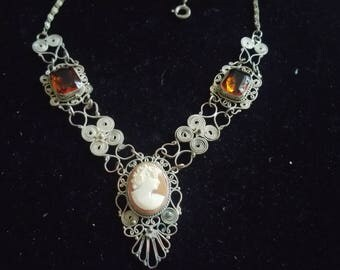 Vintage 800 Silver Filigree Carved Cameo & Crystal Necklace