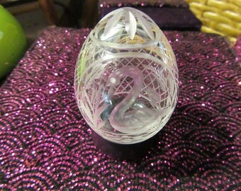FABERGE Etched Swan Crystal Egg #963