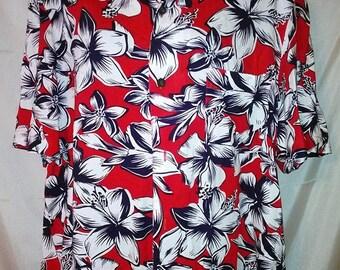 "BIG SUMMER SALE 80s Vintage Aloha Shirt-Hibiscus Print-Big Man Men-Hawaiian Aloha Hawaii Cruise Resort Club Luau Beach Shirt-52"" Chest-2X-2X"
